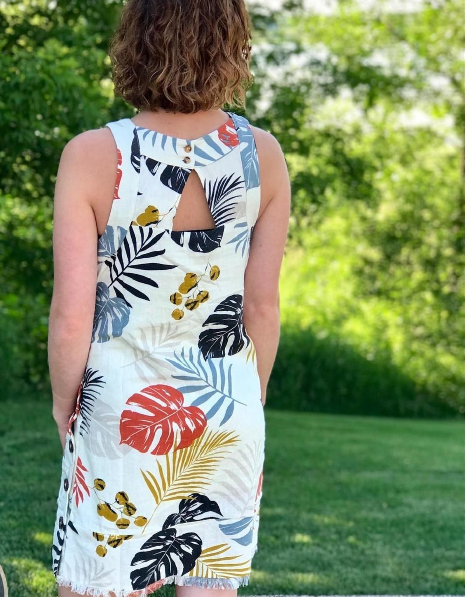 Leaf Print Linen Blend Shift Dress