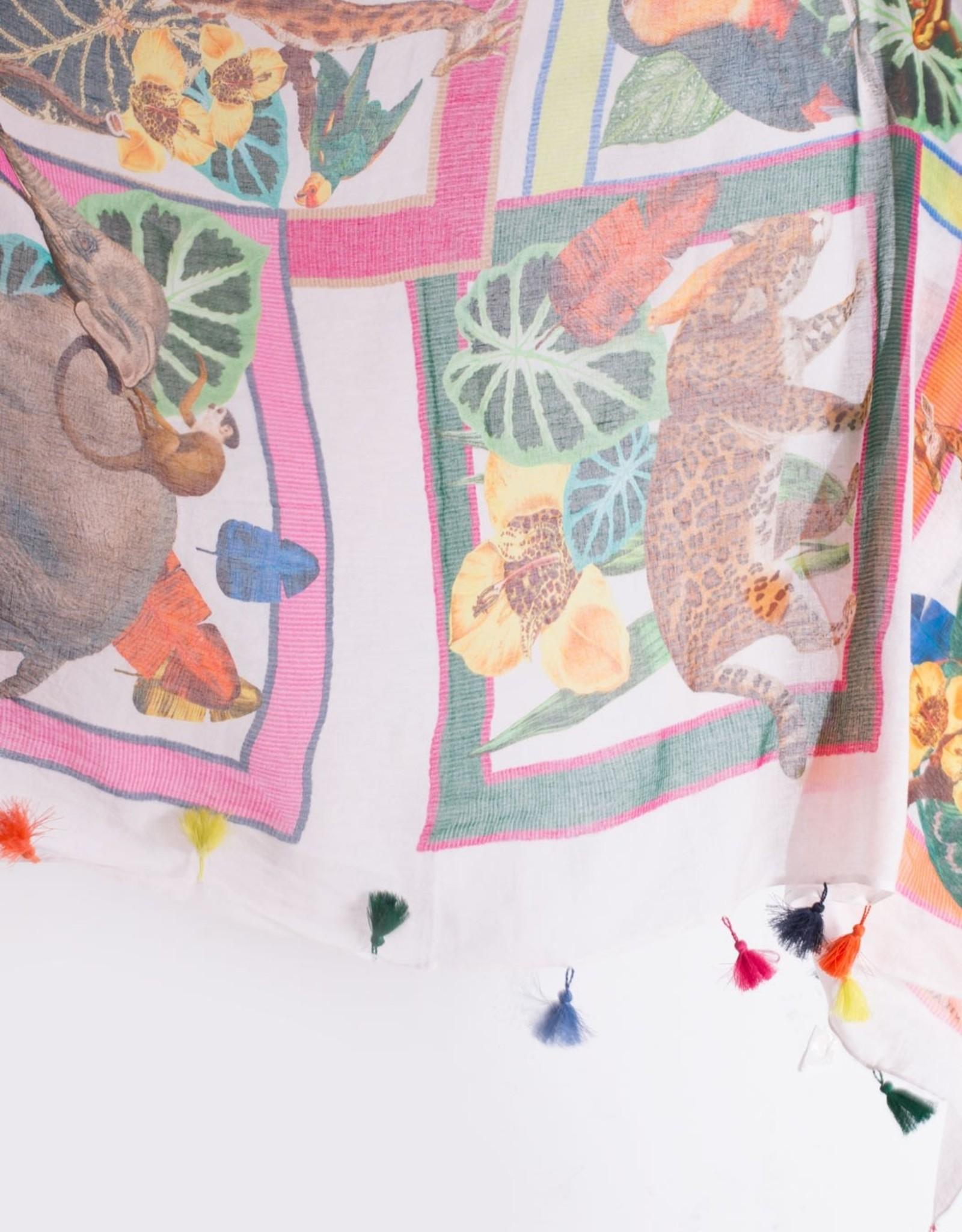 VilaGallo Vilagallo Minneriya Animals Cotton Scarf