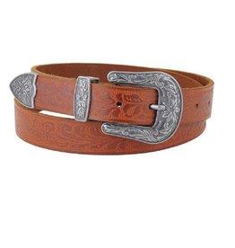 Tooled Leather Western Style Belt