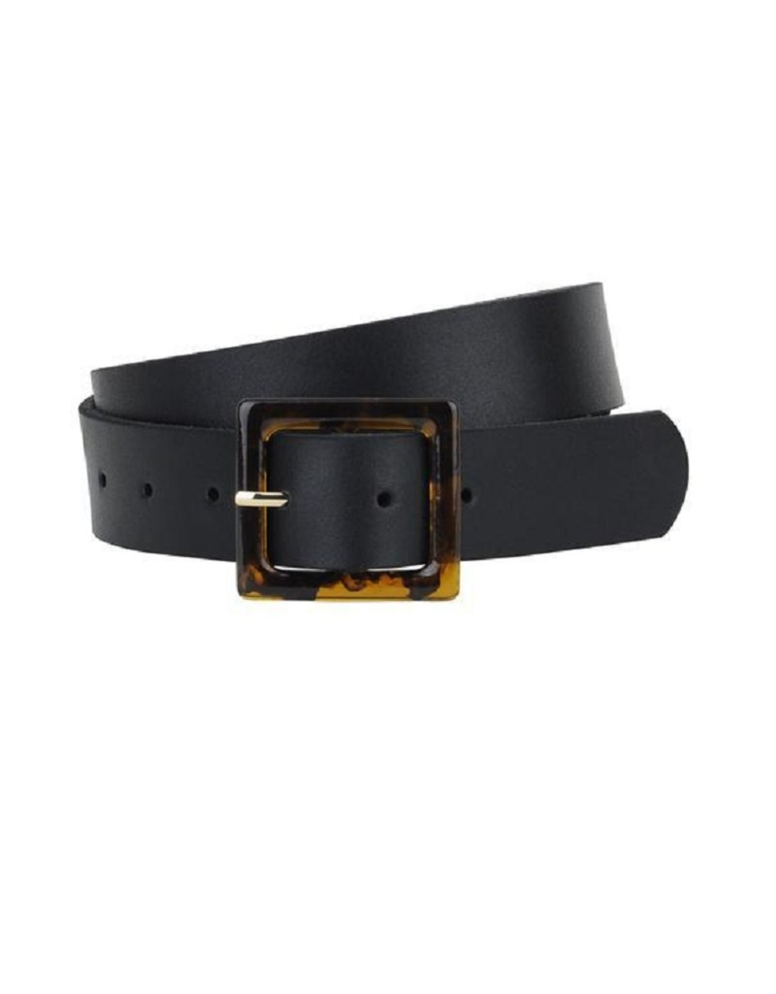 Leather Belt with Square Tortoise Resin Buckle