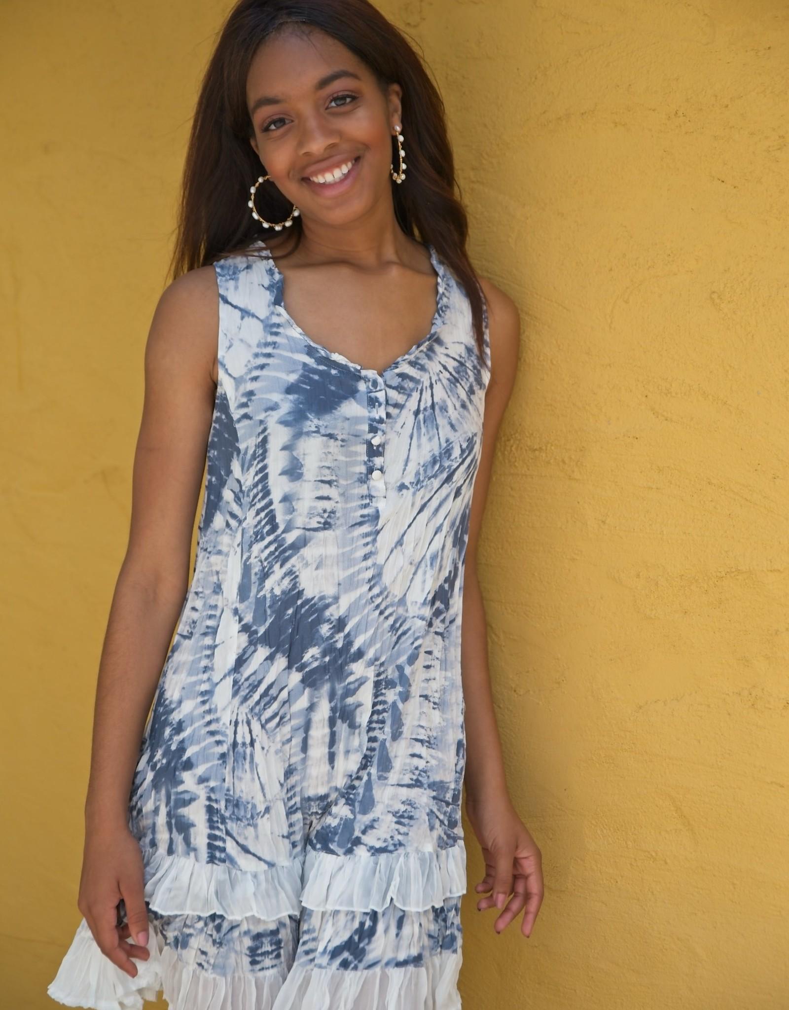 Tie Dye Ruffle Hem Dress