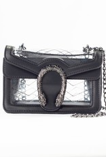 Clearly Handbags Clearly Handbags The Kathleen  Oxidized Silver & Black Leather