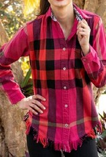 Tizzie by Dizzy Lizzie Tizzie Sun Valley Tunic Red/Pink Plaid Flannel by Dizzy Lizzie