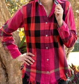 Tizzie by Dizzy Lizzie Tizzie Sun Valley Tunic Red Pink Plaid Flannel