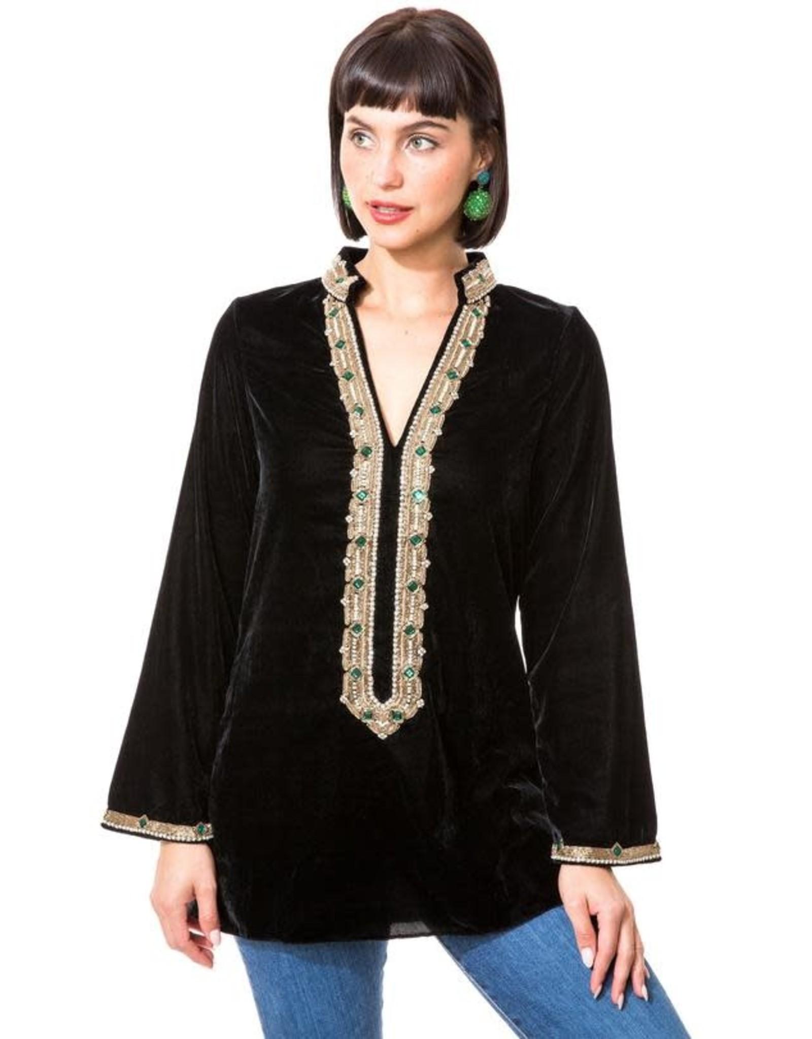 bella tu bella tu  Hayden Black Velvet Jewel Collar Tunic