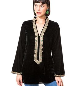 bella tu bella tu  Hayden Black Velvet Jewel Collar Tunic