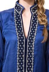 bella tu bella tu Vanessa Velvet Trimmed Tunic
