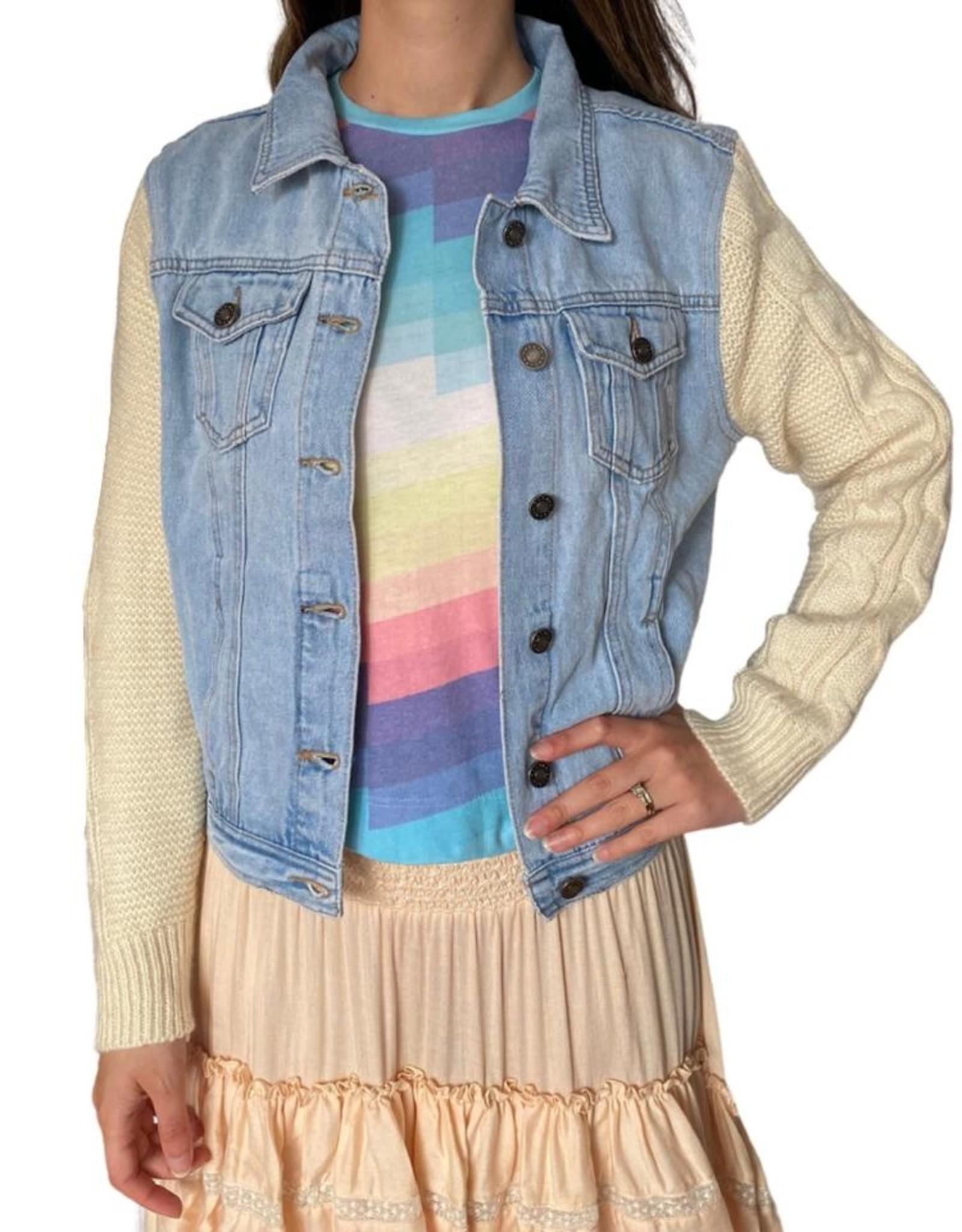 SoJara SoJara Pastel Eye Denim & Cableknit Sweater