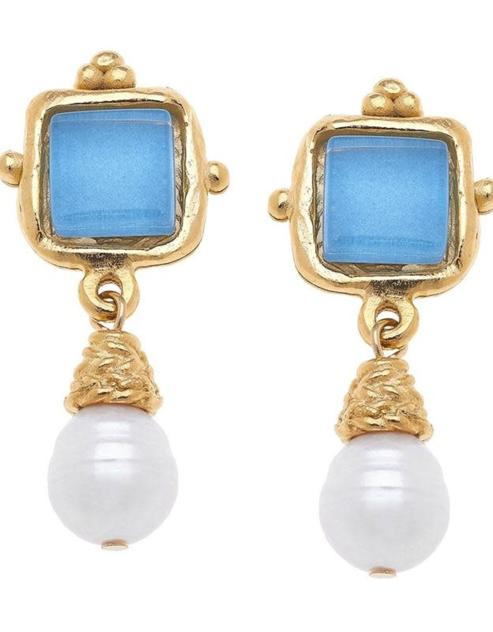 Susan Shaw Shaw Earrings GOLD Square/BLUE Glass/Pearl Drop CLIP-ON