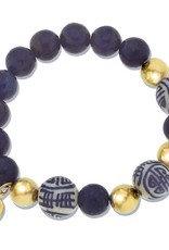 Susan Shaw Blue White & Gold Beaded Bracelet