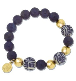 Susan Shaw Blue White & Gold Beaded Bracelet