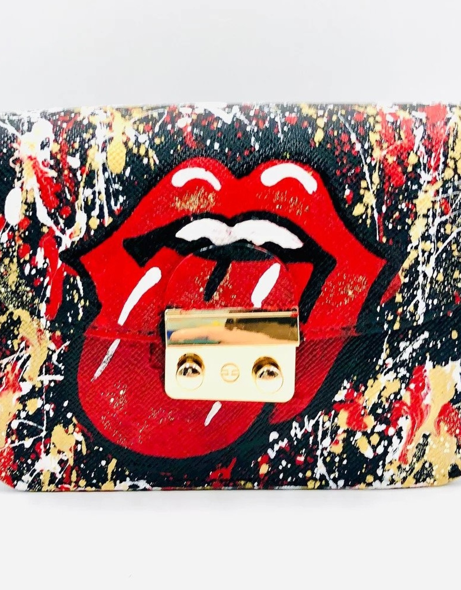 Anca Barbu Pop Art Tongue & Splatter Hand Painted Vegan Crossbody