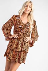 Glam Cheetah Ruffled Mini Dress