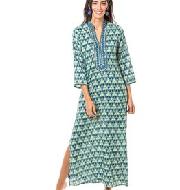 "bella tu bella tu Morgan 54"" Caftan Green/Blue"