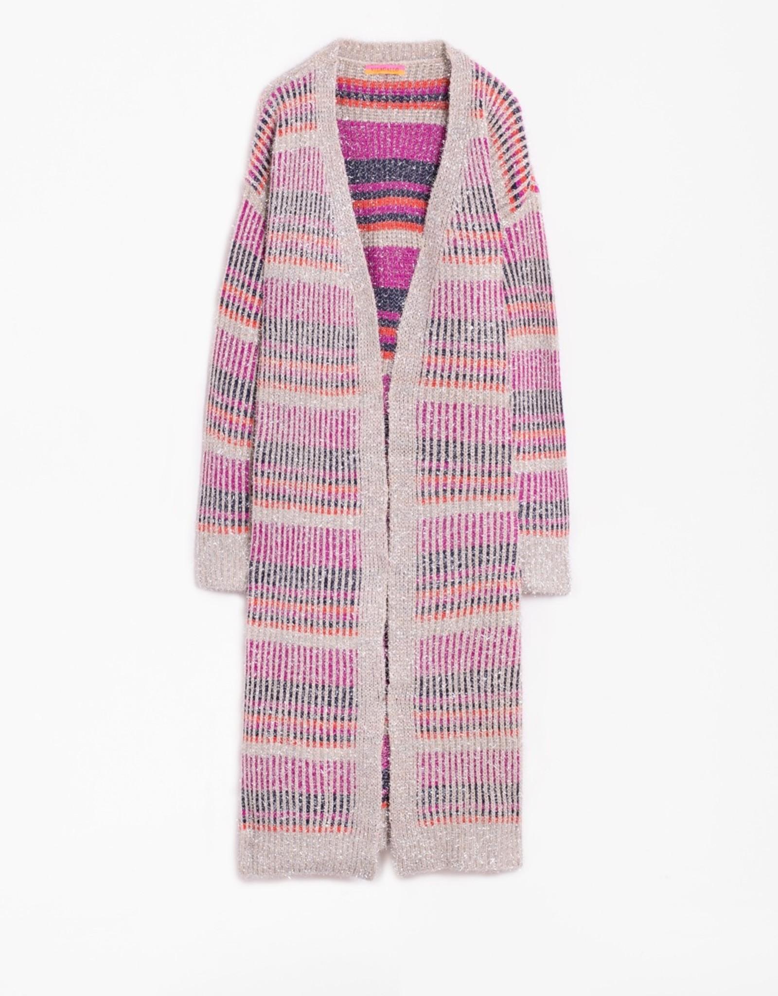 VilaGallo VilaGallo Pink Maika Shimmer Stripes Cardigan