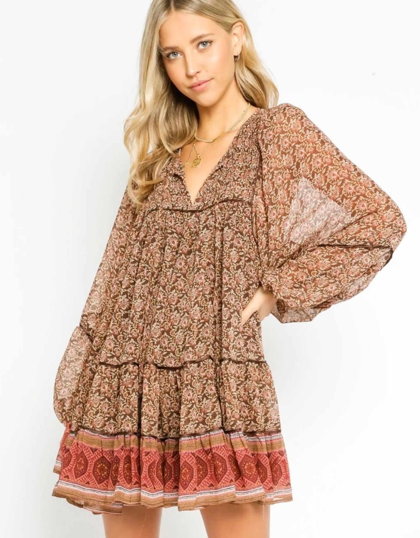 olivaceous Peasant Dress Terra Cotta Tapestry RUST/BROWN
