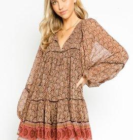 olivaceous Peasant Dress Terra Cotta Tapestry RUST/BROWN