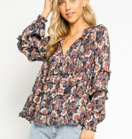 olivaceous Henna Floral Peasant Blouse NAVY/CREAM