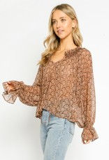 olivaceous Peasant Blouse Terra Cotta Tapestry RUST