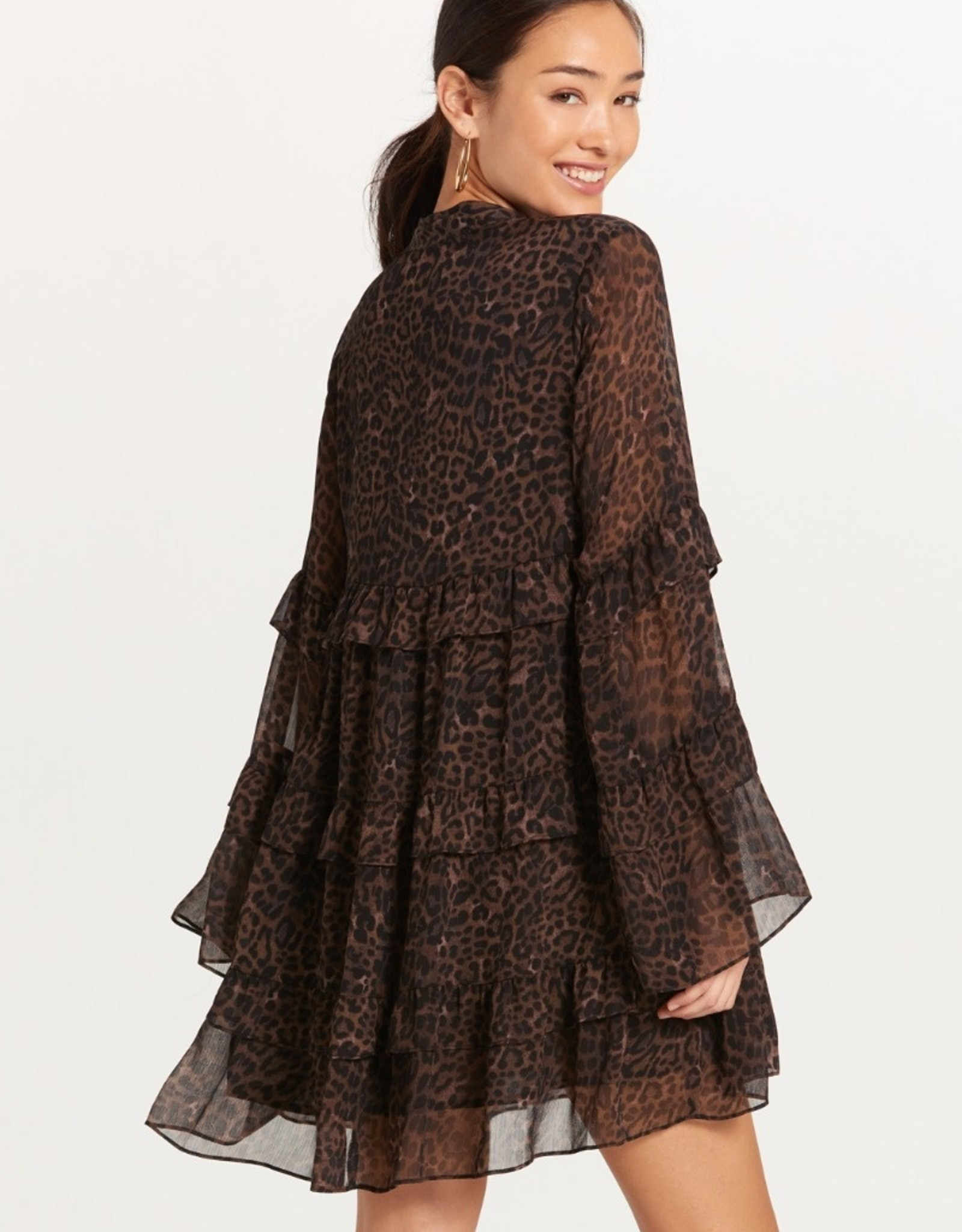 olivaceous Dark Leopard Flute Sleeve Tiered Dress BROWN/BLACK