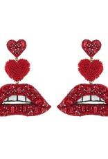 Deepa Gurnani Deepa Gurnani Lips Drop Earrings RED