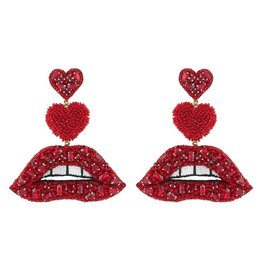Deepa Gurnani Deepa Gurnani Lips Drop Earrings RED