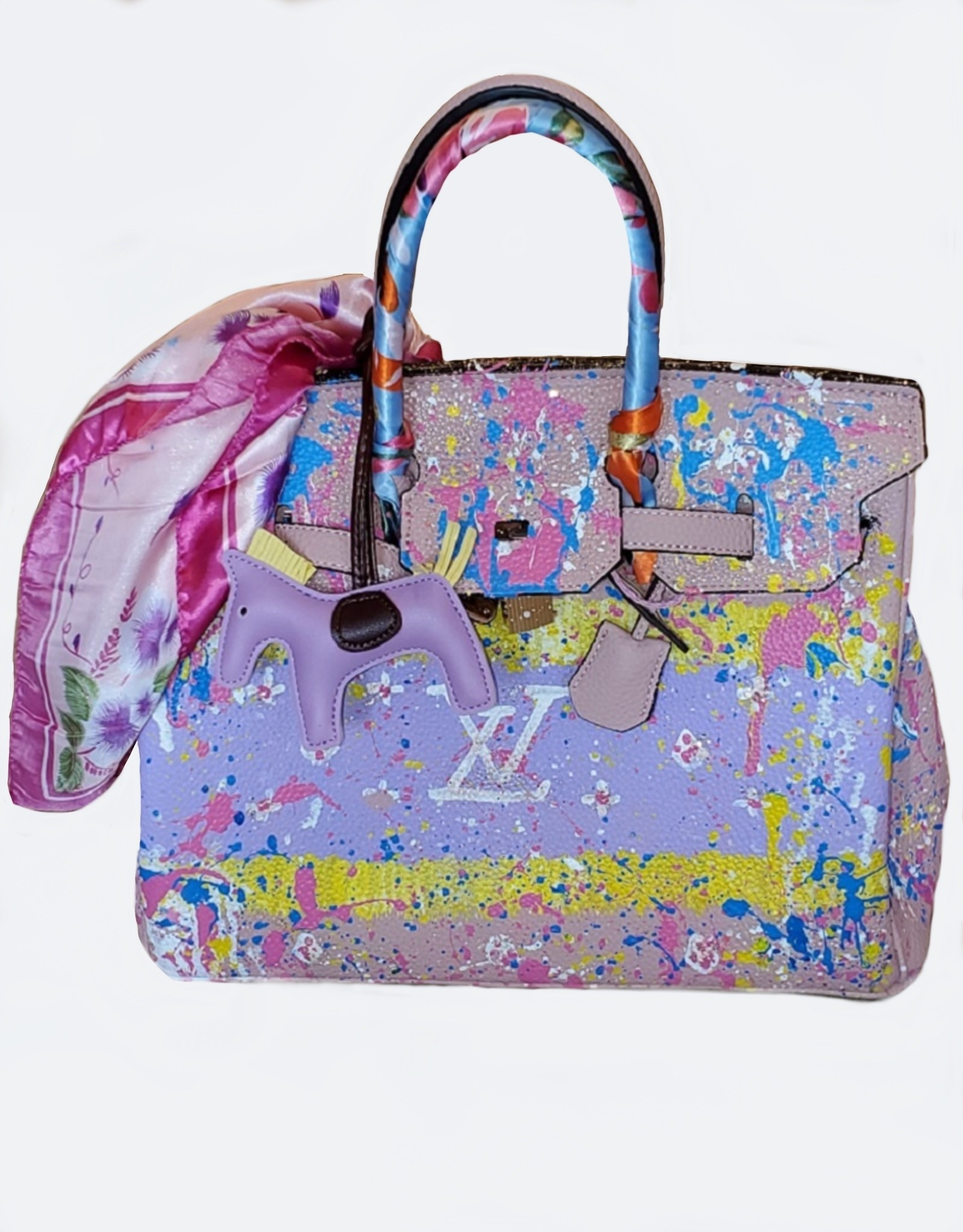 Anca Barbu Pop Art Hand Painted LV & Splatter Blush Leather Handbag