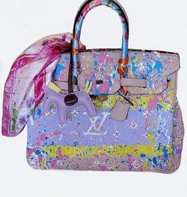 Anca Barbu Pop Art Hand Painted LV & Splatter Blush Leather Handbag