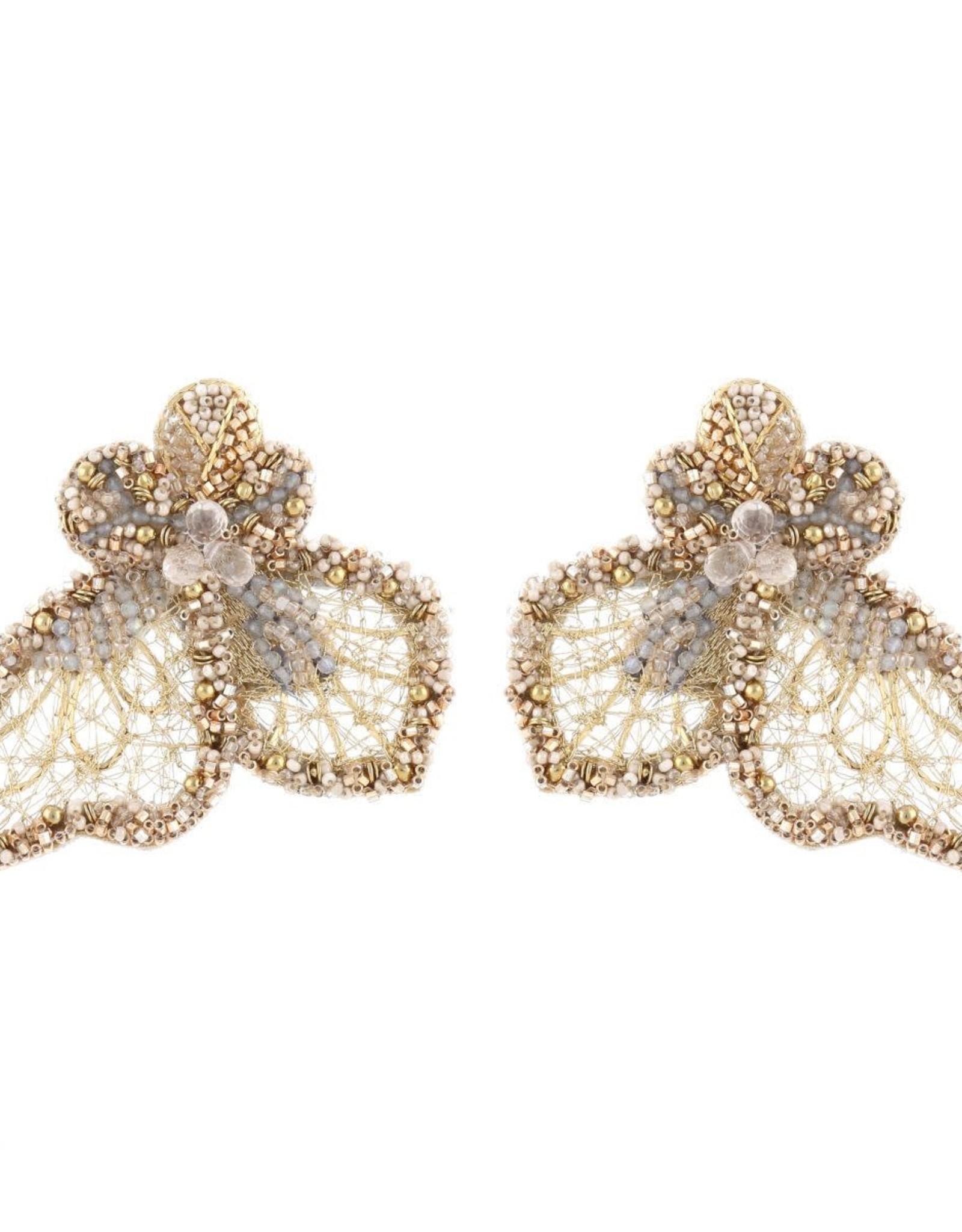 Deepa Gurnani Deepa Gurnani Clare Filigree Leaf Earrings CLIP-ON
