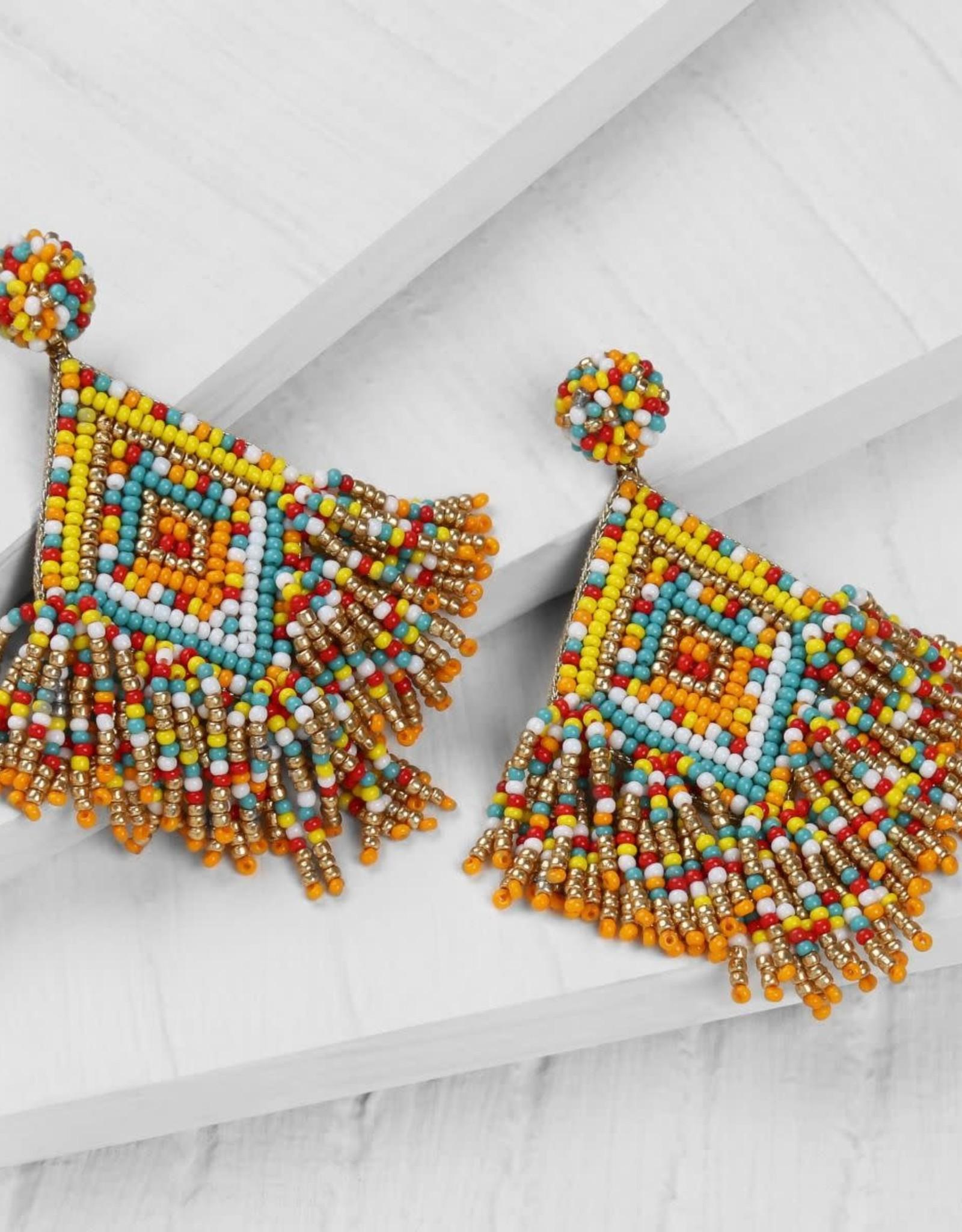 Deepa Gurnani Deepa Gurnani Dottie Beaded Chandelier Earrings Yellow/Multi