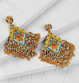 Deepa Gurnani Deepa Gurnani Dottie Beaded Chandelier Earrings Yellow/Multi
