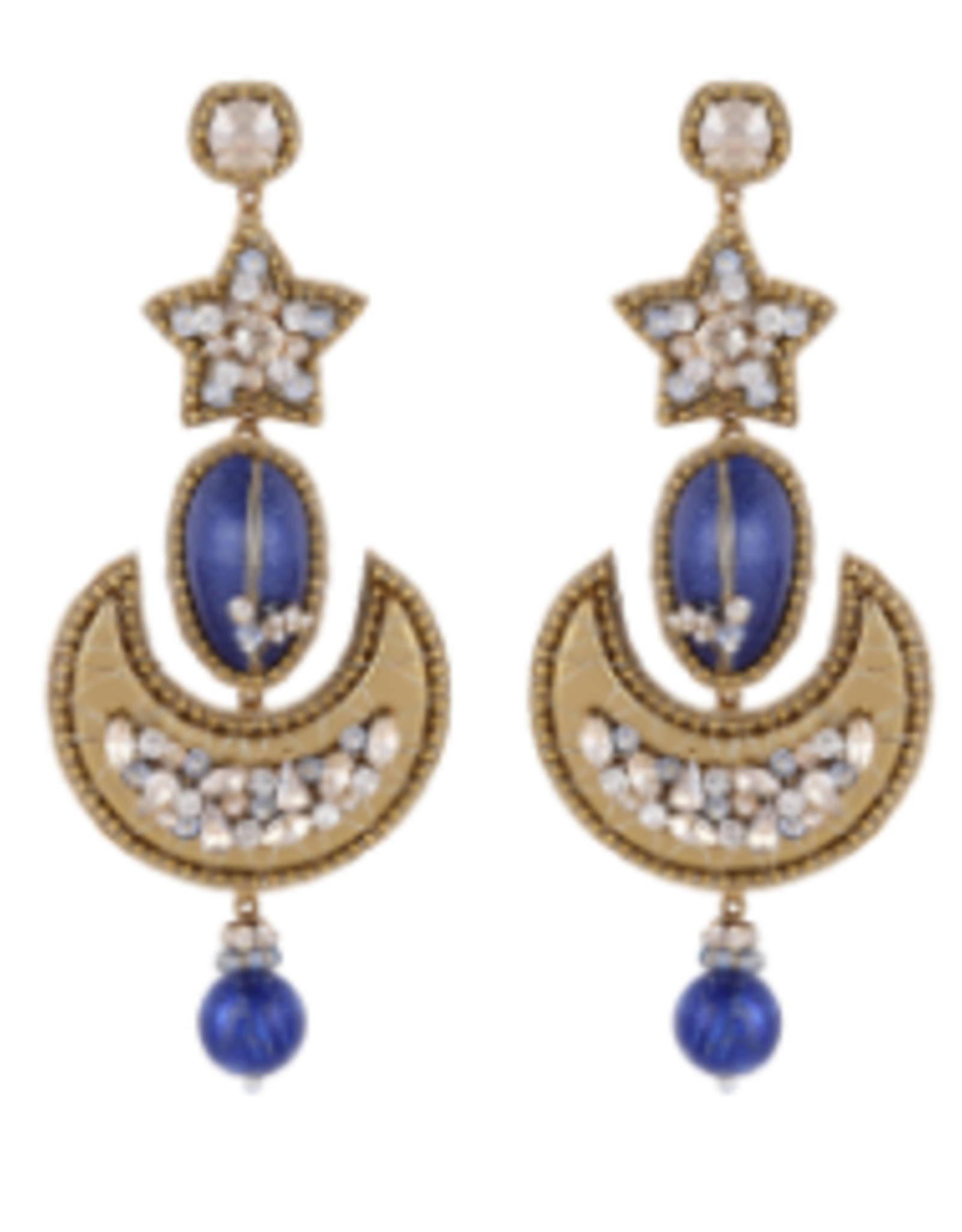 Deepa Gurnani Deepa Gurnani Celestial Earrings Lapis/GOLD