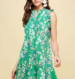 Sleeveless Dress Pleated GREEN Floral