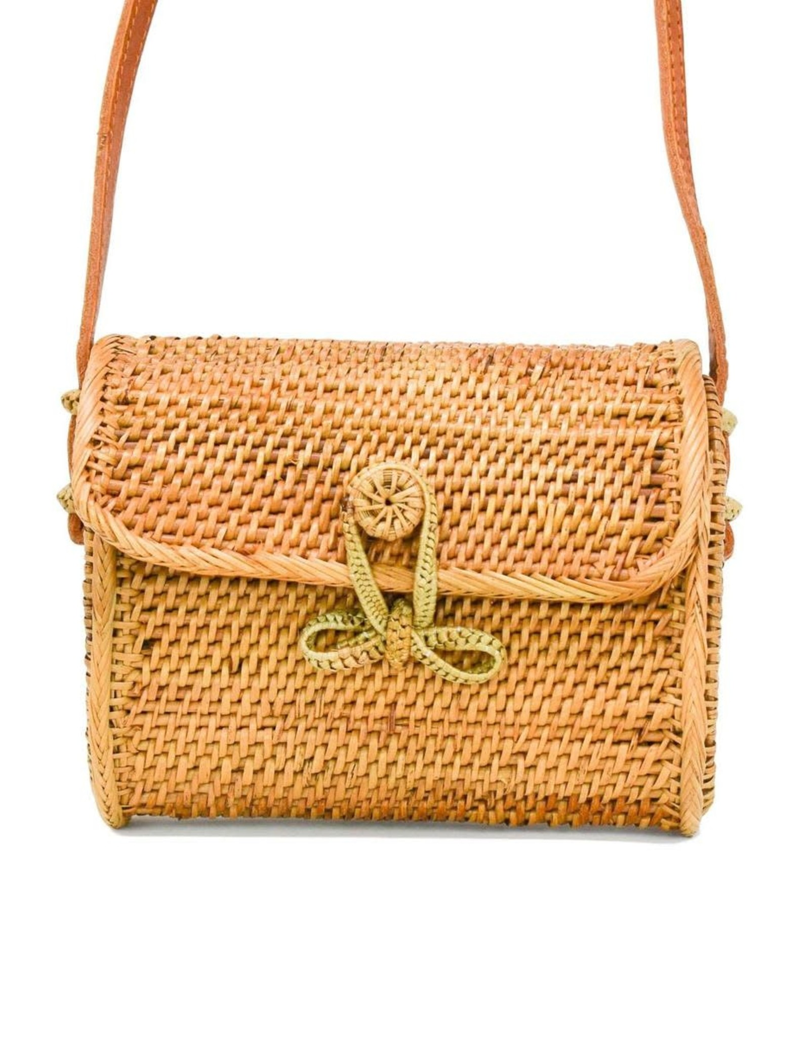 Poppy + Sage Sophia Mini Bowtie Clasp Bag NATURAL