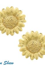 Susan Shaw Shaw Earrings GOLD Sunflower CLIP-ON