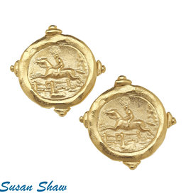 Susan Shaw Shaw Earrings GOLD Horse Jumper Medallion