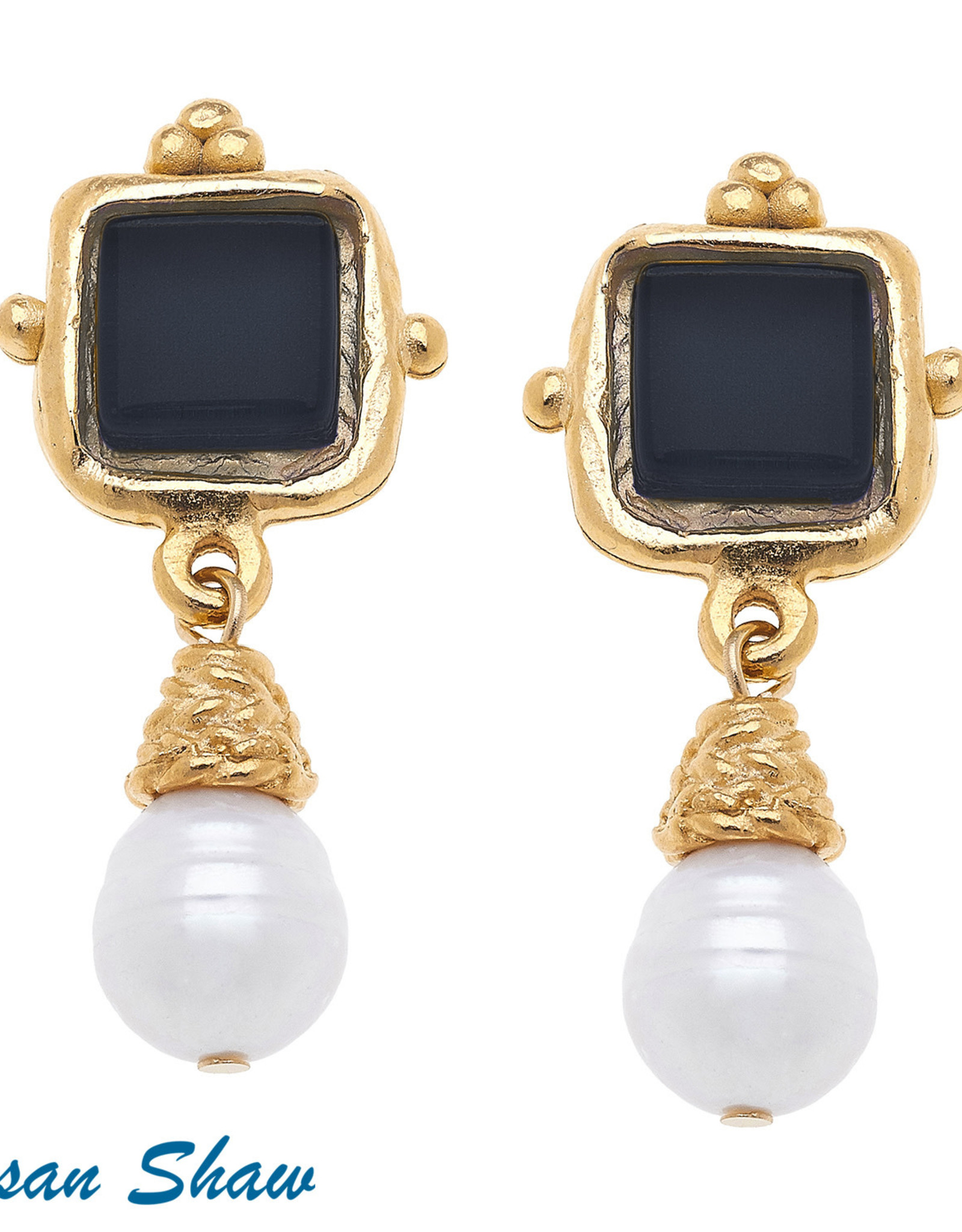 Susan Shaw Shaw Earrings GOLD Square/BLACK Glass/Pearl Drop CLIP-ON