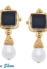 Susan Shaw Shaw Earrings GOLD Square/BLACK Glass/Pearl Drop
