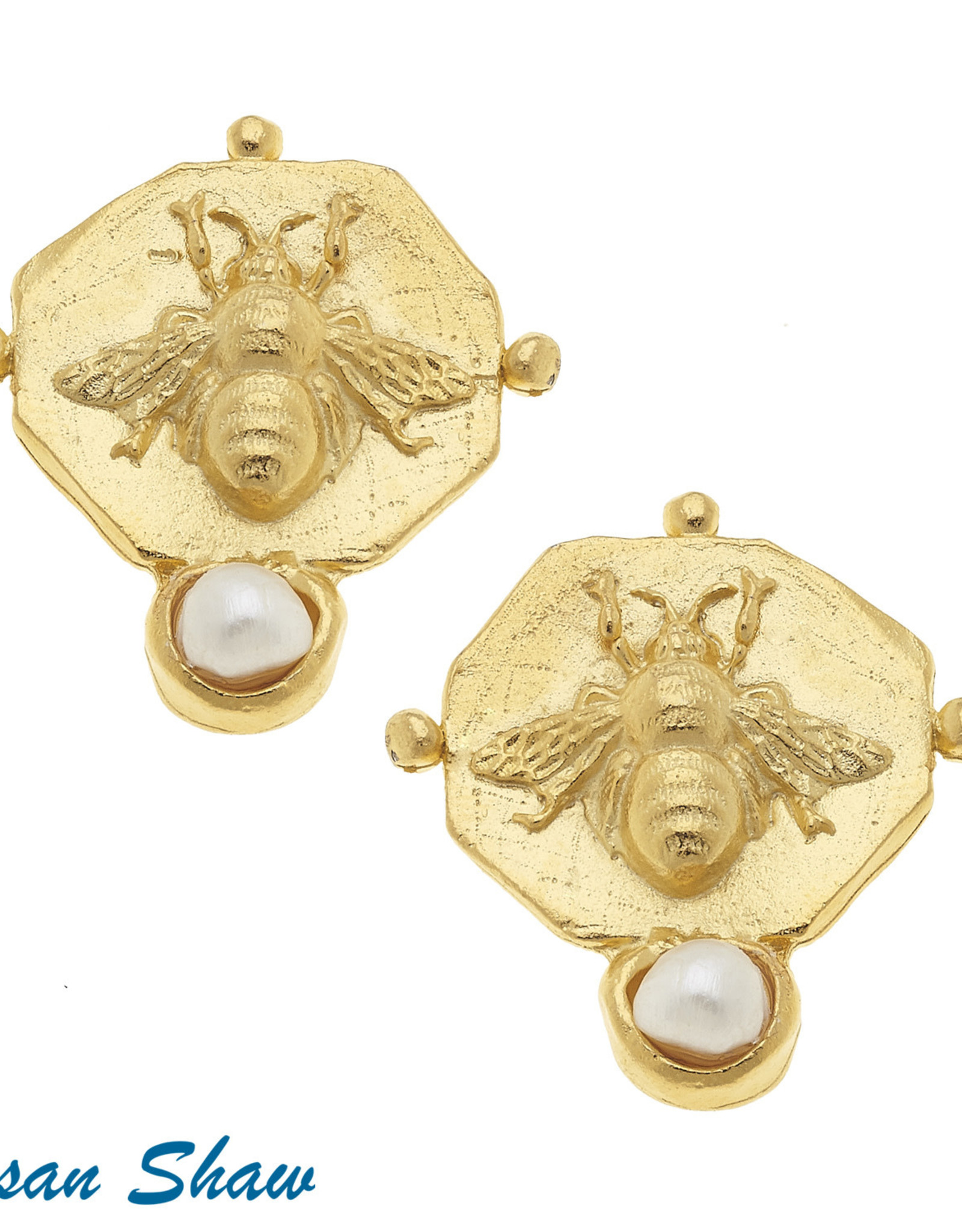 Susan Shaw Shaw Earrings GOLD Octagon Bee/Pearl Detail CLIP ON
