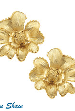 Susan Shaw Shaw Earring GOLD Flower CLIP-ON