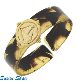 Susan Shaw Shaw Bracelet Tortoise Cuff/GOLD Horse