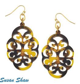 Susan Shaw Shaw Earrings Tortoise Swirl Cut Out