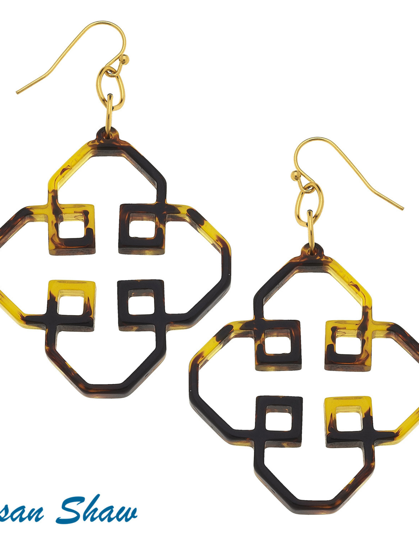 Susan Shaw Shaw Earrings Tortoise Squared Clover Cut Out