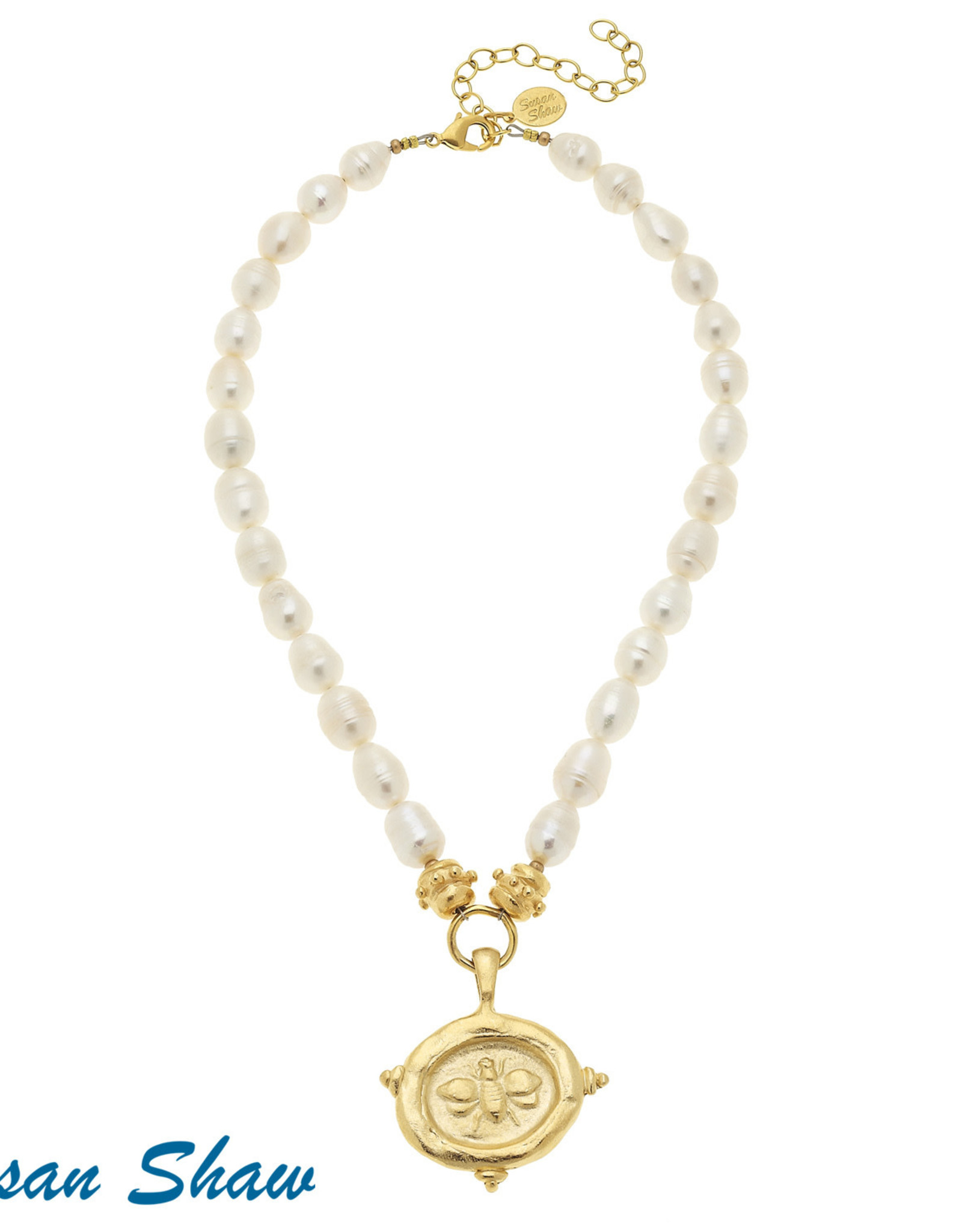 Susan Shaw Shaw Necklace Pearls/GOLD Bee Medallion