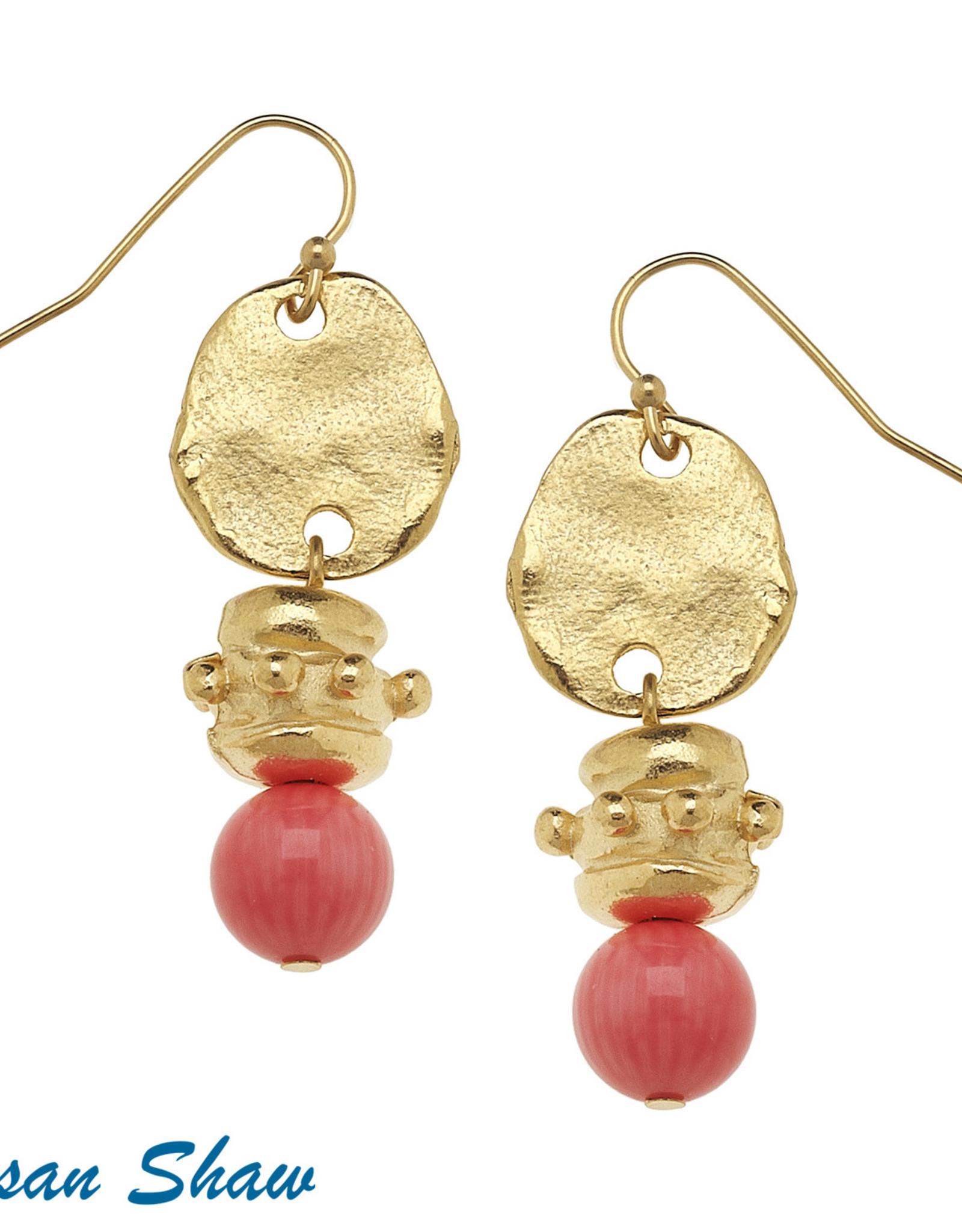Susan Shaw Shaw Earrings GOLD Disc & Wire-hook/CORAL Quartz Drop