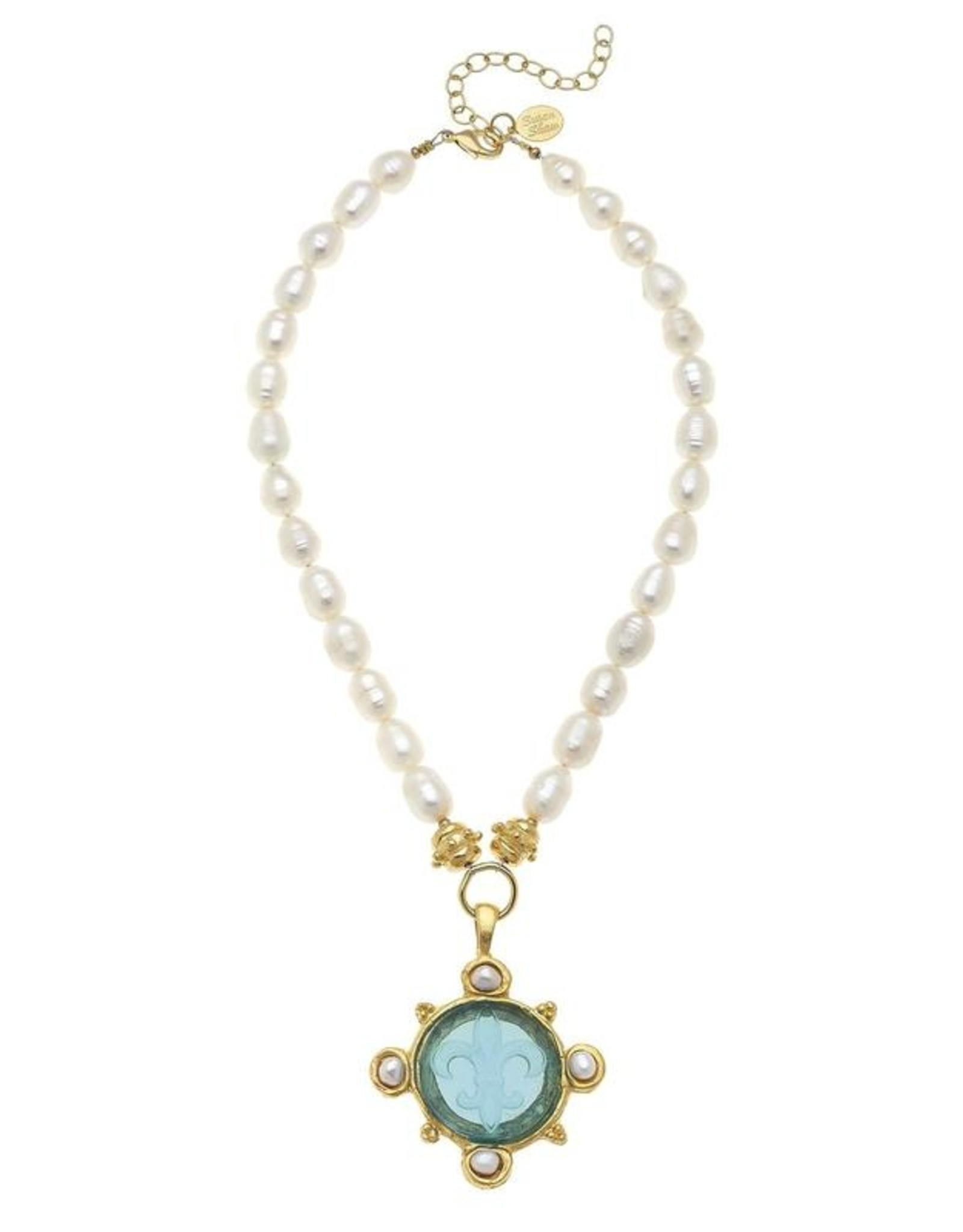 Susan Shaw Shaw Necklace Pearls/Blue Fleur de Lis Intaglio 4 Pearl Accent