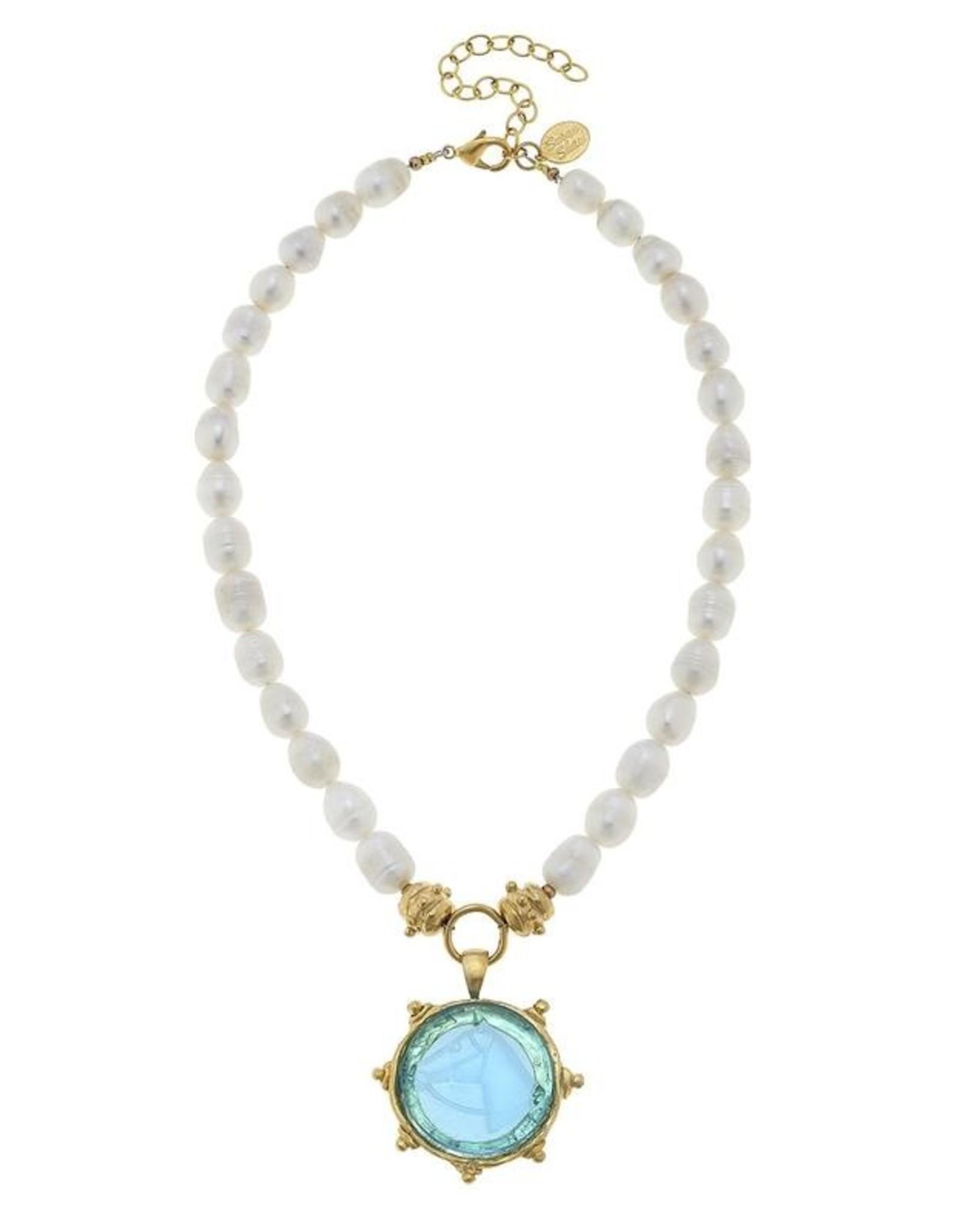 Susan Shaw Shaw Necklace Pearls/BLUE HORSE Intaglio