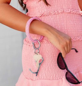 Big O Key Rings / Oventure Big O Key Rings Embossed Leather Riveria Tickled Pink/White