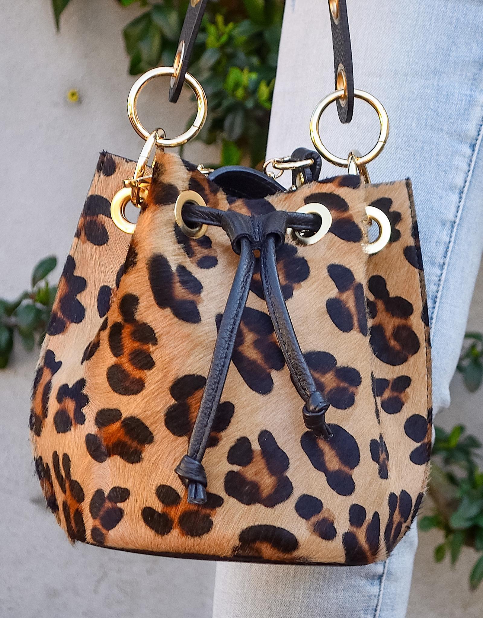 German Fuentes Mini Bucket Bag Leopard  Hide
