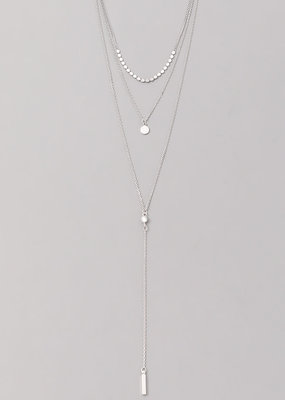 Layered 3 tier necklace silver